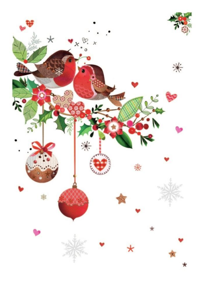 sweet robins with holly and baubles