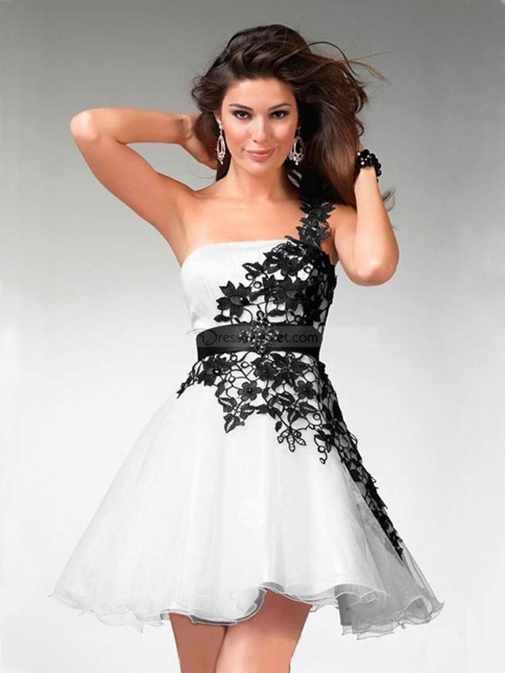 2016 Black and White Lace Prom Dresses One-Shoulder Sleeveless Lace-Up Backless Short Mini Cocktail Dresses SD118 Top