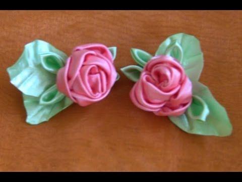 HOW TO MAKE ROLLED RIBBON ROSES- fabric flowers - Flor de fitas com boca de jacaré Passo a Passo - YouTube
