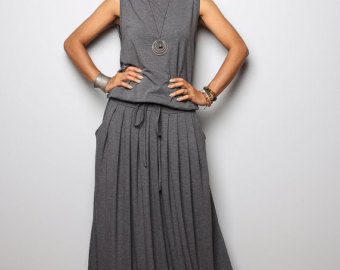 Maxi Dress Abito manica lunga Navy Grey: autunno di Nuichan