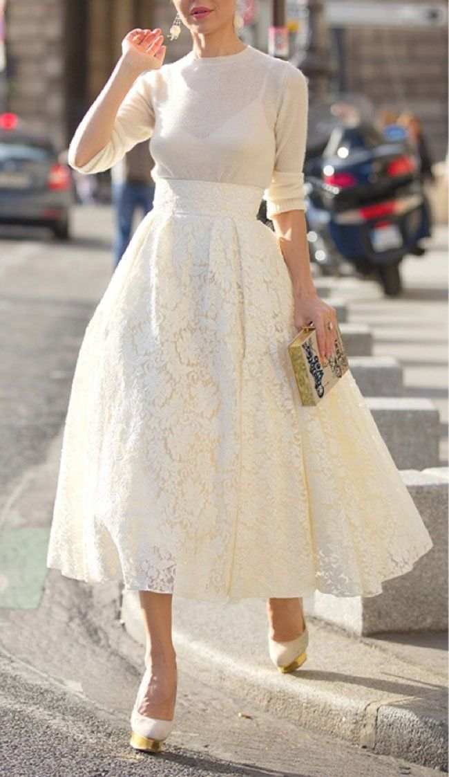 relaxed informal bridal city look with gorgeous lace skirt and sweater