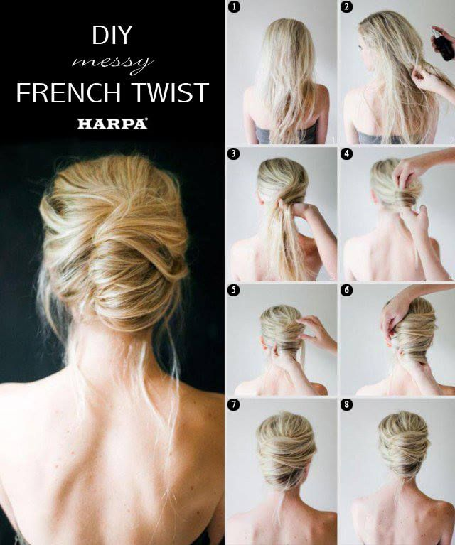 7 best hairstyle images on pinterest bridal hairstyles hairstyle diy messy french twist 13 great step by step summer hair tutorials i cant do a french twist to save my life solutioingenieria Gallery