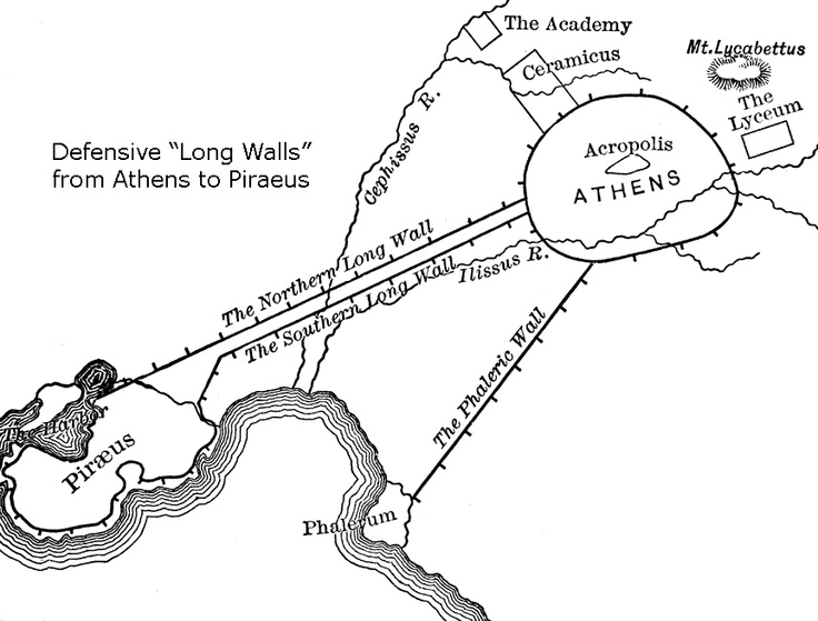 A map of late 5th century Athens, depicting the Long Walls built by Pericles to protect the route from Athens to her harbour, Piraeus. During the Peloponnesian War, the space between these walls housed the inhabitants of the Attic countryside while it was being razed by Spartan invaders.