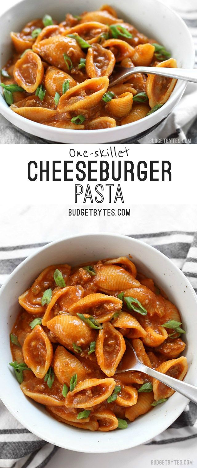 """Skillet Cheeseburger Pasta is a fast and easy """"from scratch"""" version of the classic hamburger helper. BudgetBytes.com"""
