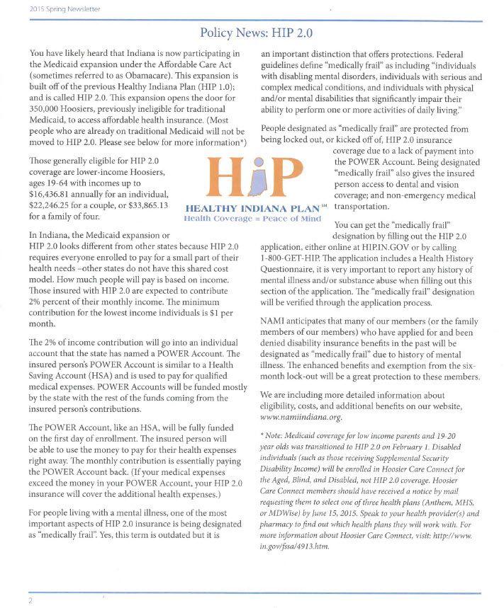 Nami Indaina Newsletter - describes Healthy Indiana Plan.