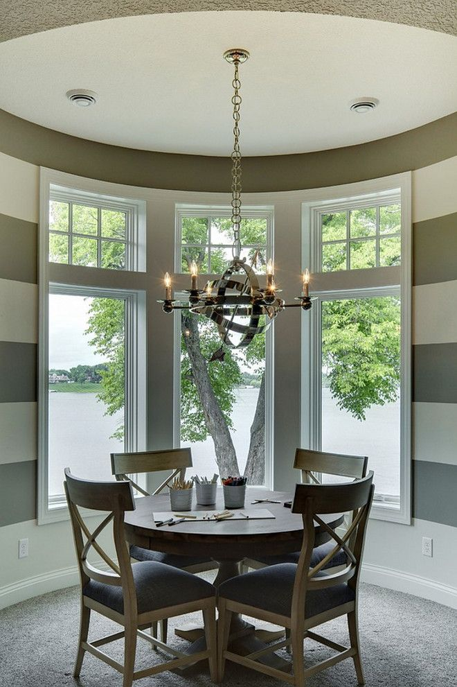 Games Room Transitional With Polished Nickel Chandelier And White Gray Striped Walls