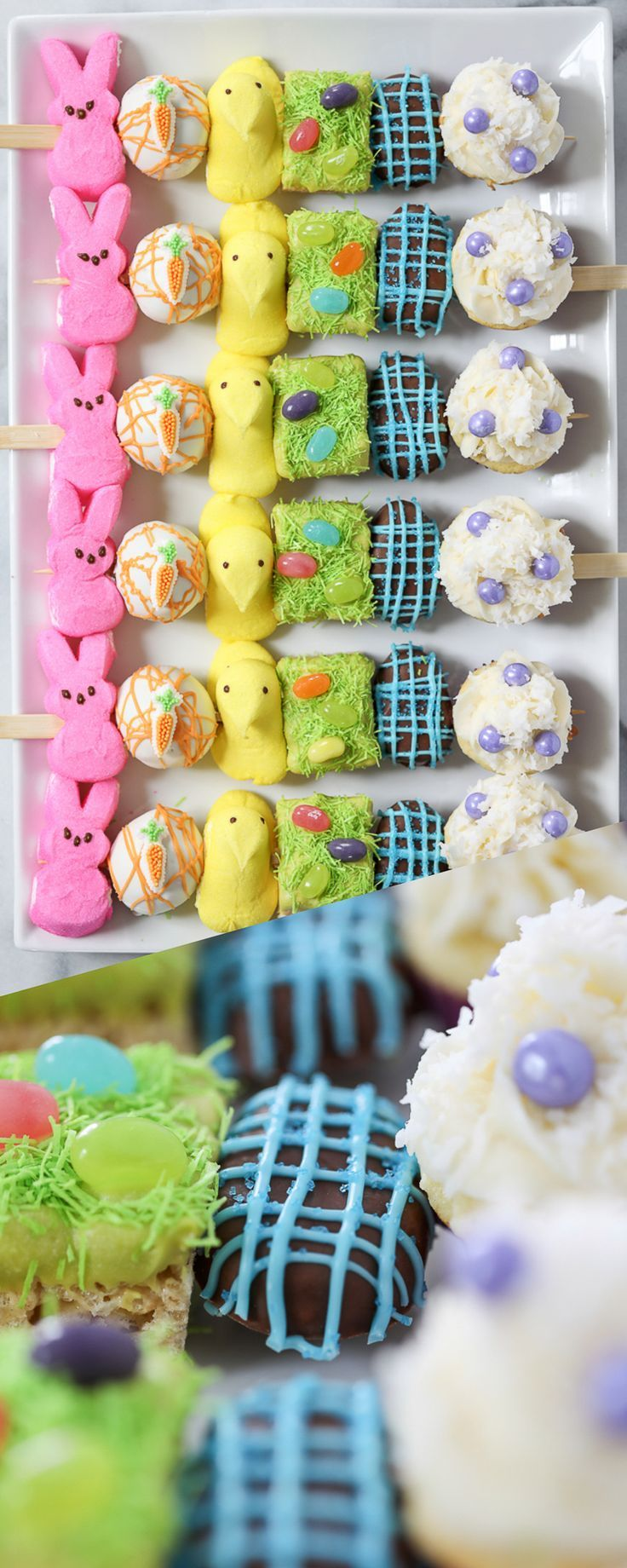Easter Dessert Kabobs - spring dessert Easter recipe idea with marshmallow peeps, carrot cake, cupcakes and more!