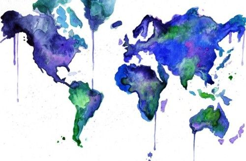 watercolor world map    @Randi Reding you should try this except not make it drippy like that