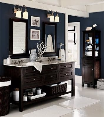 office bathroom idea - love the navy + white combo.: Wall Colors, Blue Wall, Navy Wall, Paintings Colors, Dark Wood, Master Bath, Bathroom Ideas, Pottery Barn, Dark Wall