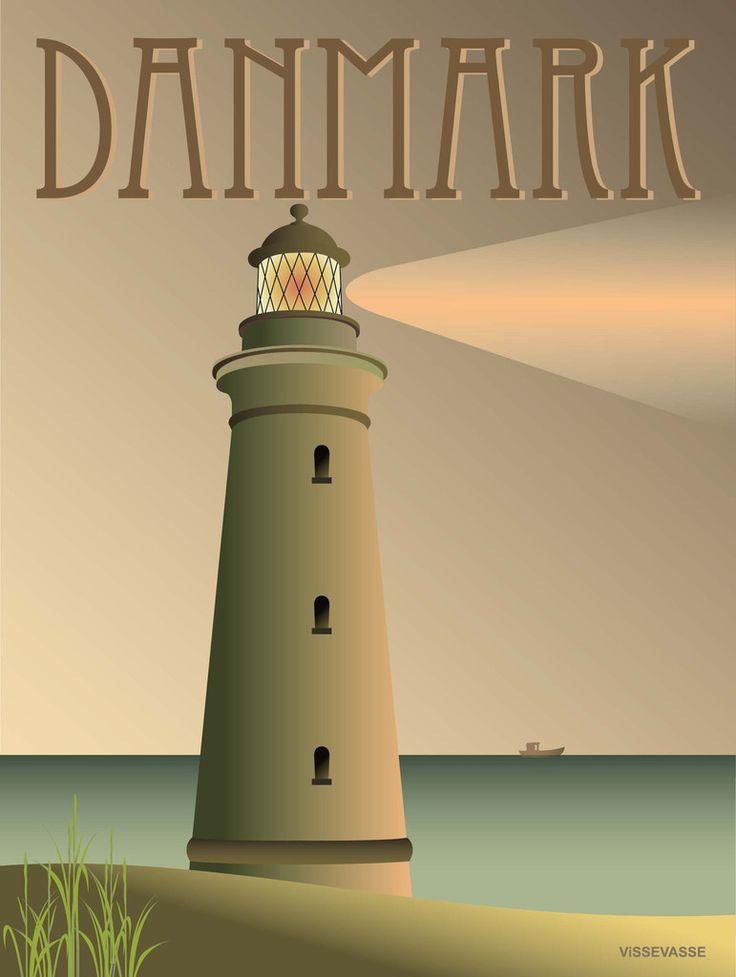 Vissevasse plakat: DANMARK - Fyret 30x40 cm