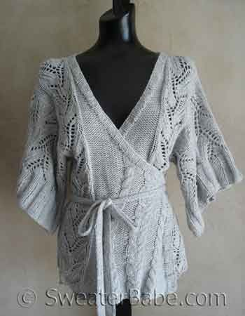 #69 Cables and Lace Kimono Wrap Cardigan knitting pattern. This is one of my classic designs that always invites compliments. I want one in a darker color. I love projects with both lace AND cables to keep me interested! SweaterBabeKnittingGiveaway
