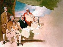 """Treaty of Paris"" (1783) Benjamin West's unfinished painting of the delegations at the Treaty of Paris: John Jay, John Adams, Benjamin Franklin, Henry Laurens, and William Temple Franklin. The British delegation refused to pose, and the painting was never completed."