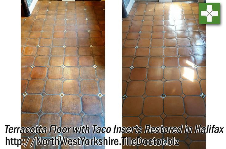 Terracotta tiles are made all over the world and not surprisingly are very popular around the Mediterranean which is where these Catalan Terracotta Tiles were imported from.  They had been installed in a large former farmhouse outside of Halifax in West Yorkshire about twenty years earlier and had never really been subject to an effective maintenance regime. They were now looking very tired and dirty indeed and well overdue a deep clean and reseal.