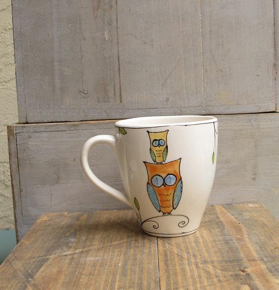 orange owl ceramic coffee mug hand painted gift by catherinereece, $22.00