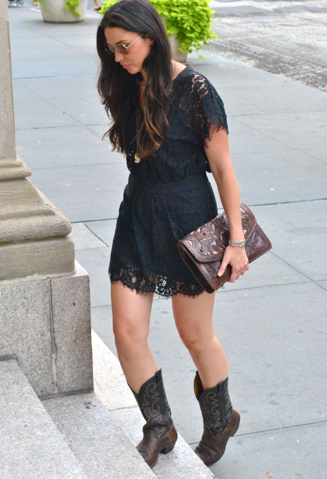 Black lace dress with cowboy boots