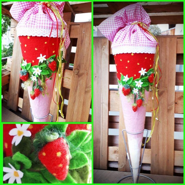schultüte zuckertüte erdbeeren gefilzt für mädchen in