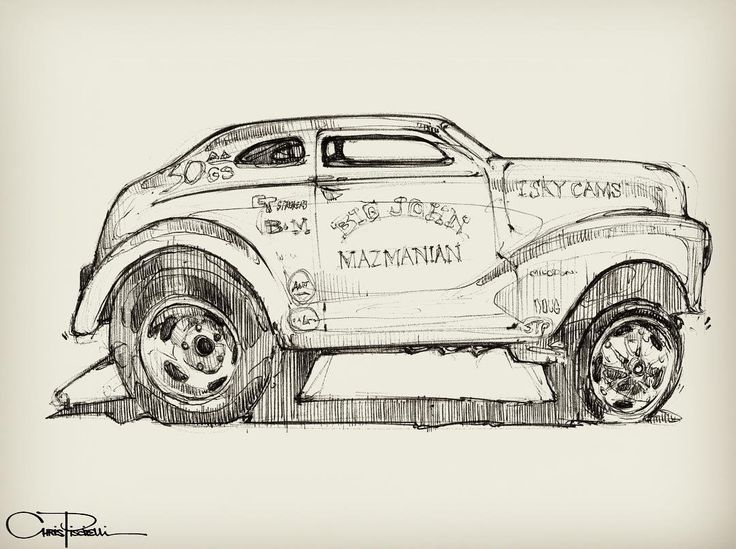 """piscitellidesign Saw through @roddersjournal that the big John Mazmanian Austin """"football"""" gasser was crossing the auction block at Hershey today. I love that thing, as goofy as it is. #bigjohnmazmanian #gasser #austingasser #raisedobsession #HotRod #HotRodArt #Sketch #CarSketch #PiscitelliDesign #SketchEveryDamnDay"""