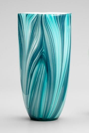 Turin Vase in the most beautiful medly of aqua, turquoise, cerulean and teal...what flowers to put in it?  Roses or orchids.....white.