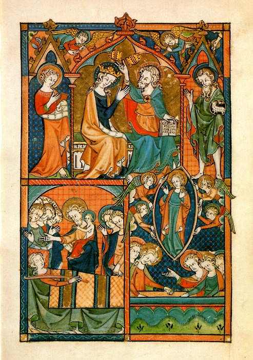 The dormition, assumption and coronation of Mary as depicted in the Ramsey Psalter, an English illuminated manuscript from the tenth century.