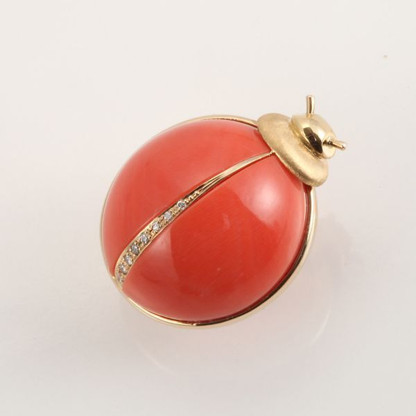 【GINZA PARIS】K18 红珊瑚 饰针/88,000日元