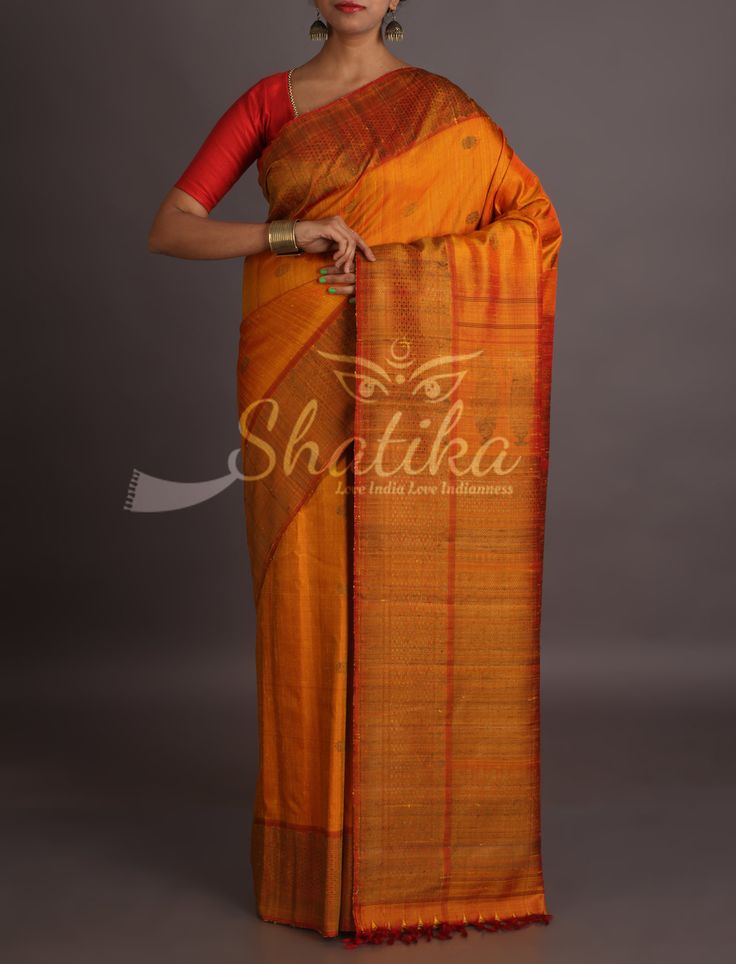 Maira Golden Brown Ornate Border Pallu Pure Jute Silk Saree