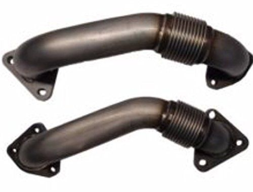 "Up Pipes High Flow, 304 SS, 2001-2016 GM 6.6L Duramax Diesel,LB7,LLY,LBZ,LMM,LML  Includes turbo to up pipe and manifold to up pipe stainless gaskets.  Designed for exact fit and to bolt directly to your Factory GM Duramax 6.6L exhaust manifolds and turbo charger inlet flange. Pipes have proper clearance for exact tit of down pipe.  Not legal for sale or use in California on pollution controlled motor vehicles""  Legal in California only for racing vehicles that may never be used, or re..."
