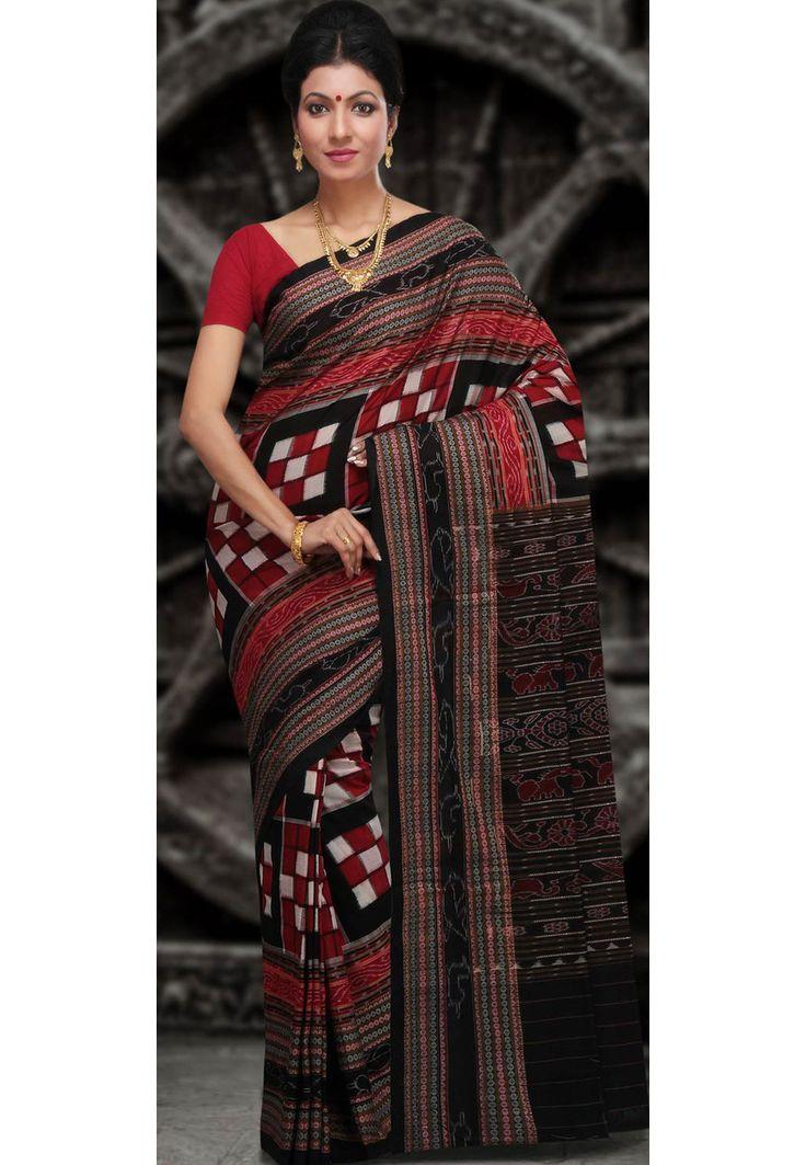 Buy Maroon, Black and White Odisha Handloom Sambalpuri Cotton Saree with Blouse  online, work: Hand Woven, color: Black / Maroon / White, usage: Festival, category: Sarees, fabric: Cotton, price: $127.16, item code: SHW78, gender: women, brand: Utsav