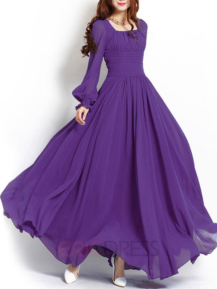 Ericdress Solid Color Sqaure Neck Lantern Sleeve Maxi Dress  Maxi Dresses