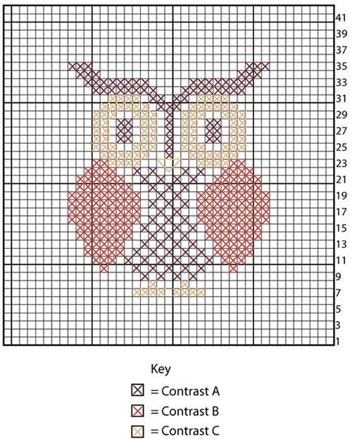 Owl Cross Stitch Dishcloth, free pattern by Lily / Sugar'n Cream...stitch onto kraft or cotton gift bags for party favors or gift packaging