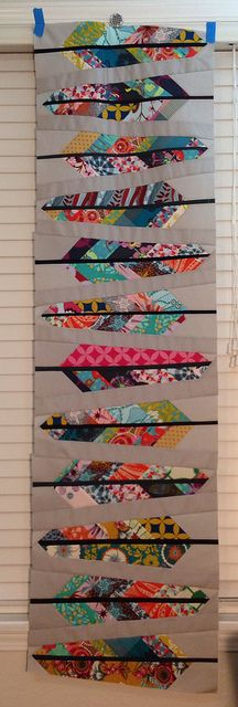 AMH feathers twin size quilt | Flickr - Photo Sharing! A quilt, but inspiration for a paper crafted feather with patterned papers