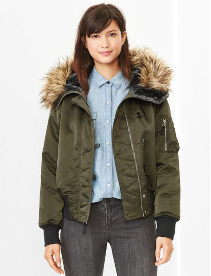 GAP $148 OLIVE  FAUX FUR HOODED SNORKEL BOMBER COAT JACKET  XS      #GAP #BasicJacket