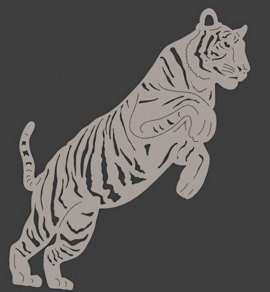 Bengal Tiger Jumping - DXF files Cut Ready CNC Designs - DXFforCNC.com