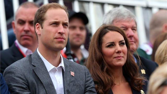 Prince William, Duke of Cambridge and Catherine, Duchess of Cambridge watch the Jumping phase of the Eventing competition on Day 4 of the London 2012 Olympic Games at Greenwich Park.