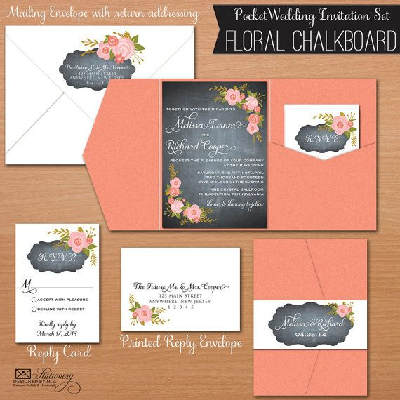 Fl Chalkboard Pocket Fold Wedding Invitation Set With Reply Card Invitations
