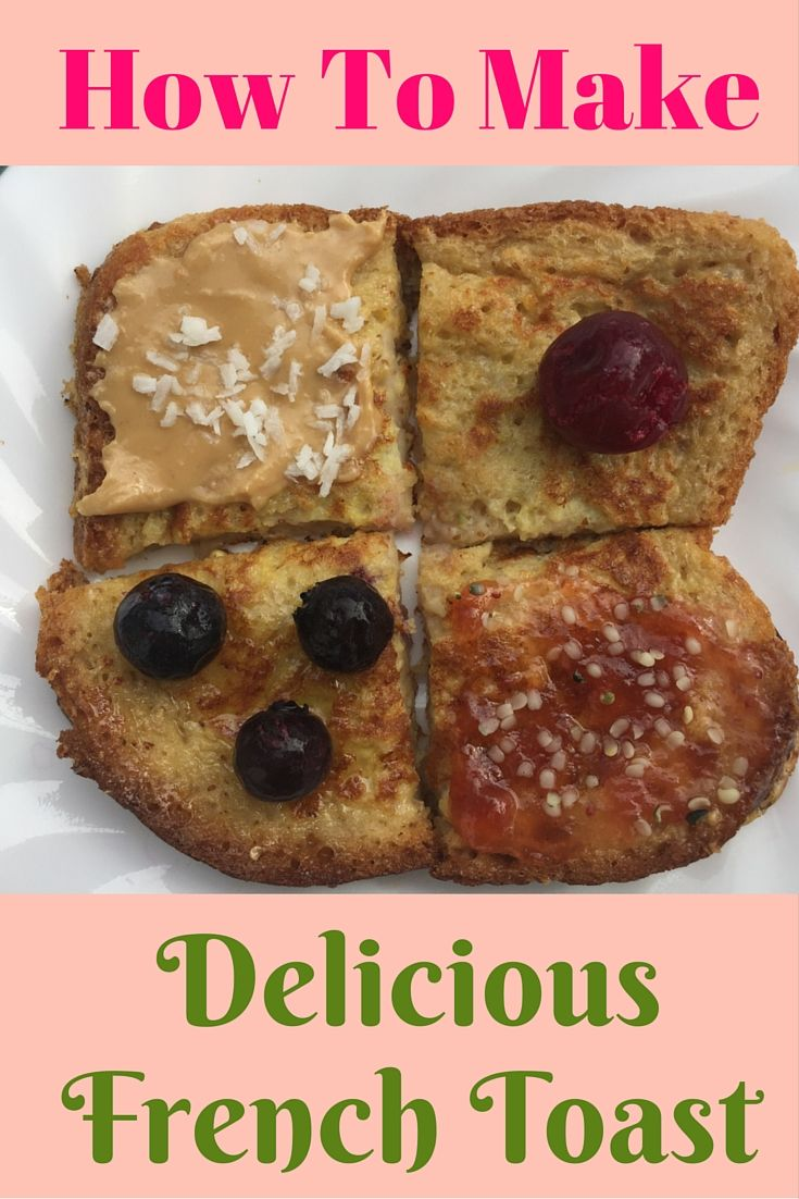 Easy and healthy French toast. It's great for breakfast, but it also works great as a snack when you take the kids to the park. Best toppings: hemp seeds, berries, raw honey, nut butter, maple syrup, coconut flakes. YUM!