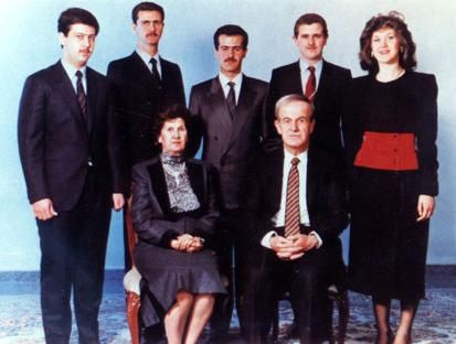 The Assad family. Hafez al-Assad and his wife, Mrs Anisa Makhlouf. On the back row, from left to right: Maher, Bashar, Basil, Majid, and Bushra Assad.
