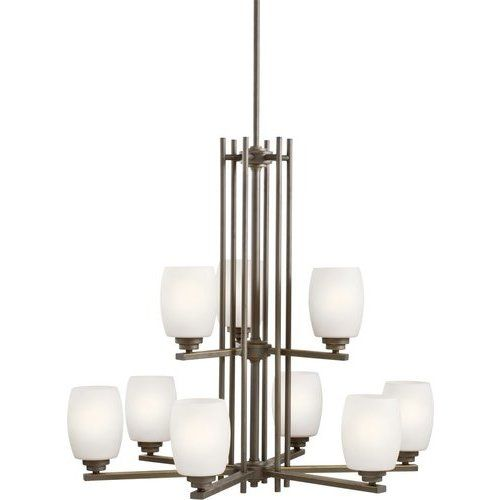 Kichler 28.25 Inch Eileen 9 Light Chandelier Satin Etched Opal 100W – Olde Bronze 1897OZS