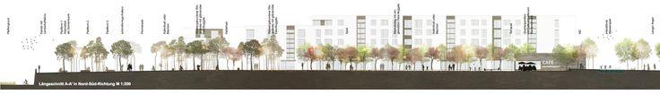 Anerkennung: Längsschnitt M 1:200. Pfaffengrunder Terrasse - Alltagsplatz - Multifunktionsfläche