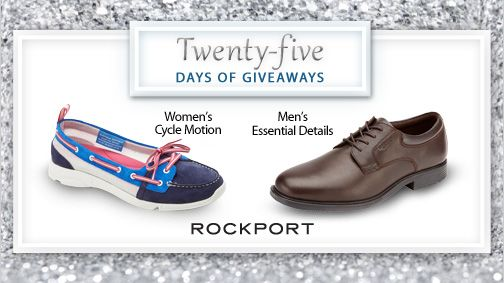 We're excited today to give away shoes from Rockport.  Since 1971, Rockport has used athletic shoe technologies in making casual dress shoes for men & women. Enter to win a pair of Rockport shoes. #25DaysofGiveaways