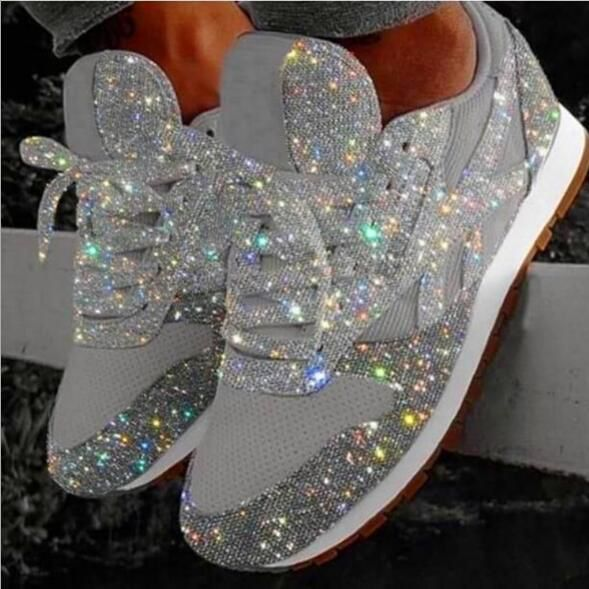 Women Sparkle Sneakers Flats Shoes Shiny Casual Fashion