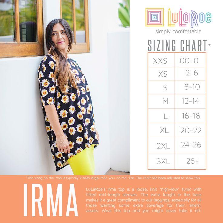 Irma Tunic size chart