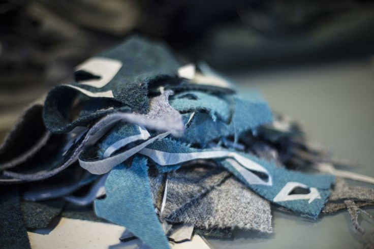 Teals/Blues/Greys Harris Tweed Remnants in Jane Hunter Art Studio  Photo by Tom Barr  It was extremely inspiring to learn more about what Jane is doing, and especially exciting to see the progress on a new piece on which she's currently working.  Jane's current work is an integral part of our Inspired by Islay project. I wonder if you can guess what she might be creating?