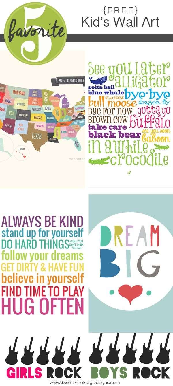 Adorable free printable kid's room wall art! Print and frame or print on a canvas to add great looking decor to your kid's room, playroom or bathroom!