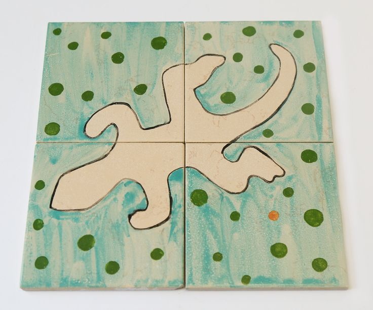 a set of four ceramic tiles lezard puzzle - home decor by EdnaGalili on Etsy