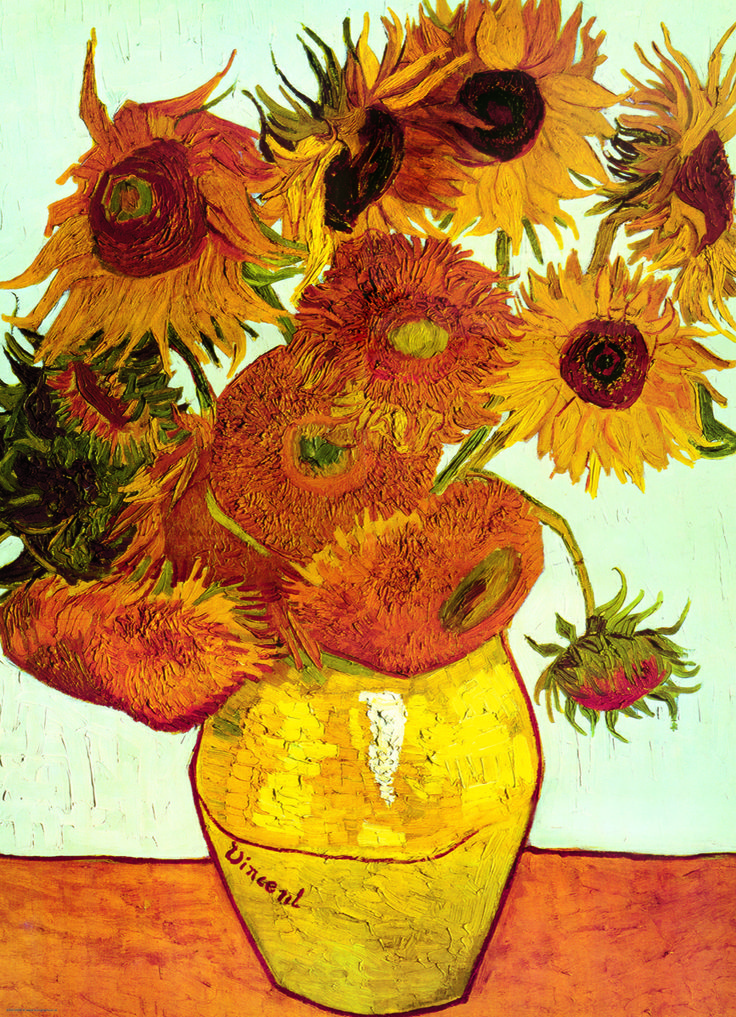 """EuroGraphics Twelve Sunflowers by Van Gogh 1000-Piece Puzzle. Van Gogh painted the """"12 Sunflowers"""" in Arles in 1888. It is known as the Munich Version and can be seen at the Neu Pinakothek in Munich."""