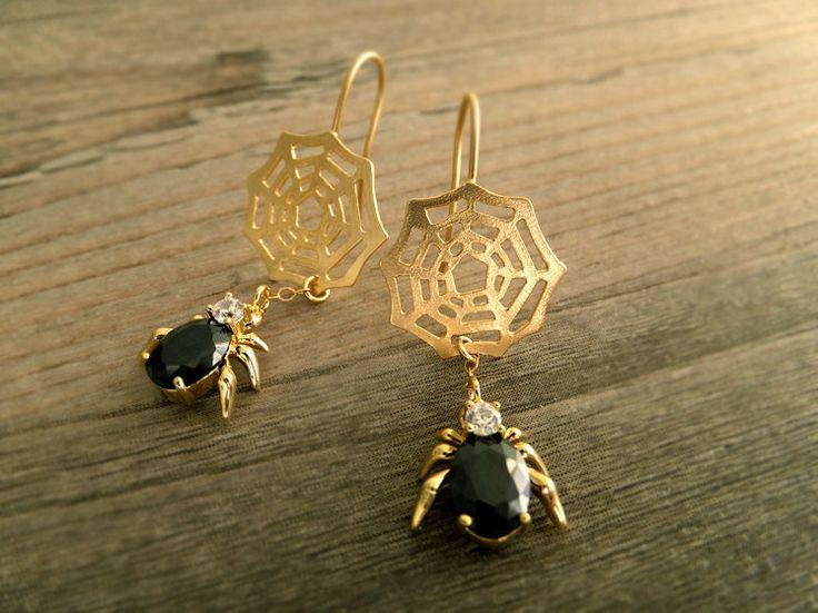 Black Spider Web Jewelry Earrings - Halloween Earrings - 16K Gold Plated Earrings - Black Faceted Glass - Gift for Her - Birthday Gift