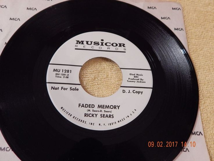 Ricky Sears : Faded Memory / Change Of Heart 45 Rpm Promo Musicor 1281  #NashvilleSoundTraditionalCountry