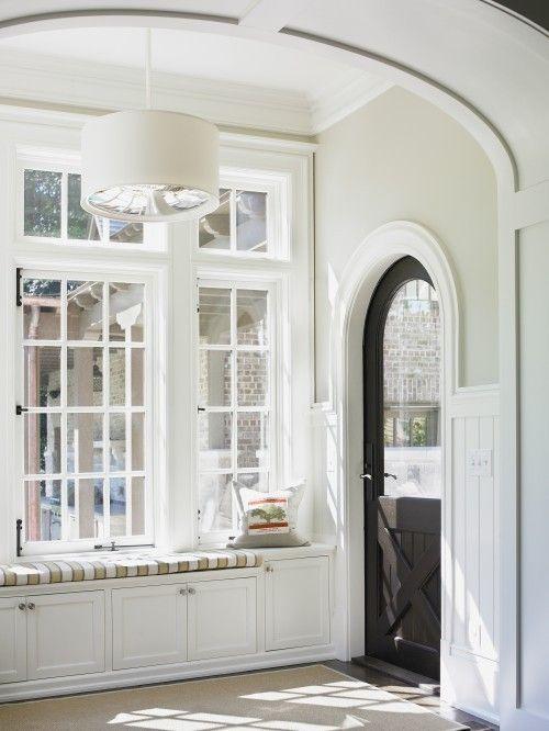 foyer : The Doors, Black Doors, Mudrooms, Dutch Doors, Mud Rooms, Arches Doors, Windowseat, Benjamin Moore, Window Seats
