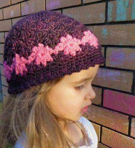Perenni Crochet Hat - free crochet pattern: Crochet Flowers, Flowers Hats, Deann Ramsay, Children Hats, Cute Hats, Girls Beanie, Crochet Hats Patterns, Crochet Patterns, Free Patterns