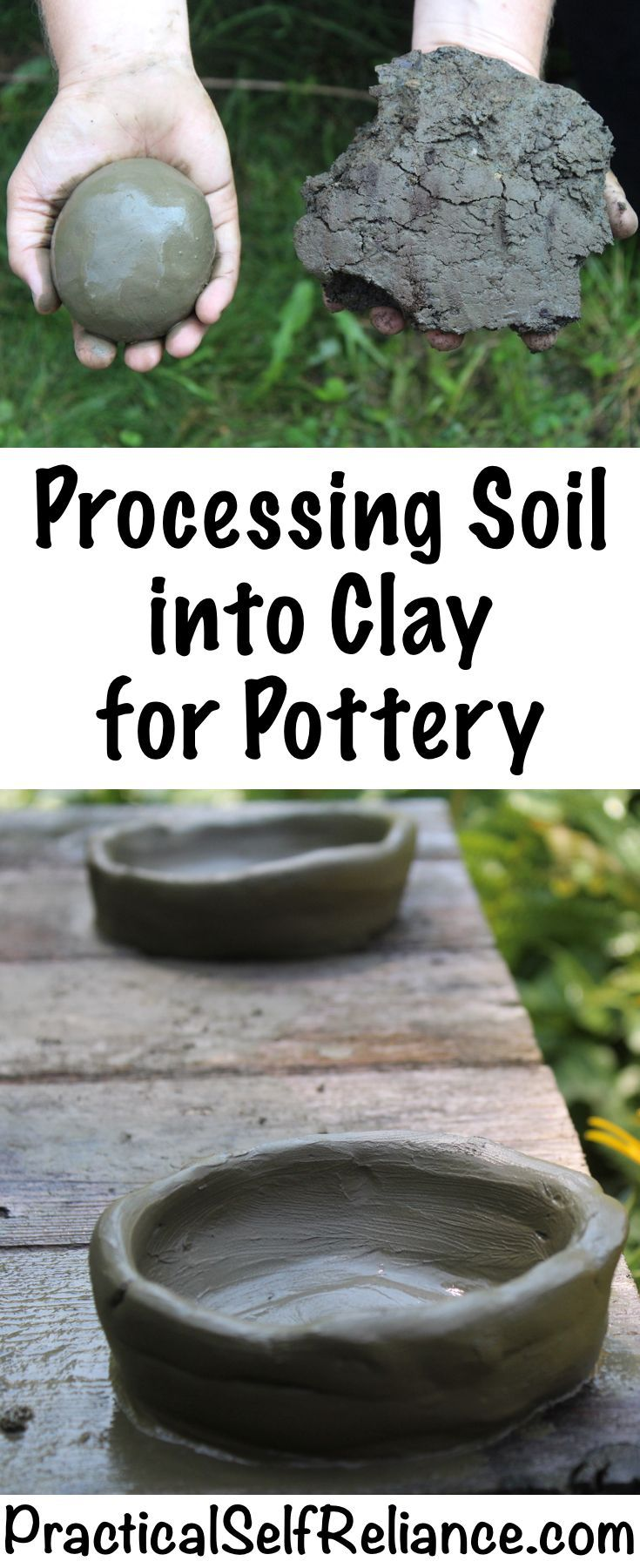How To Process Soil Into Clay For Pottery Diy Pottery Wine Bottle Diy Crafts How To Make Clay